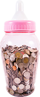 Large baby milk bottle fill with coins
